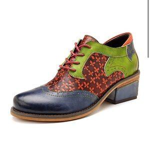 Socofy Retro Clover Leather Block Heel Shoe 39